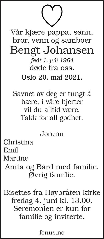 Bengt Johansen Dødsannonse