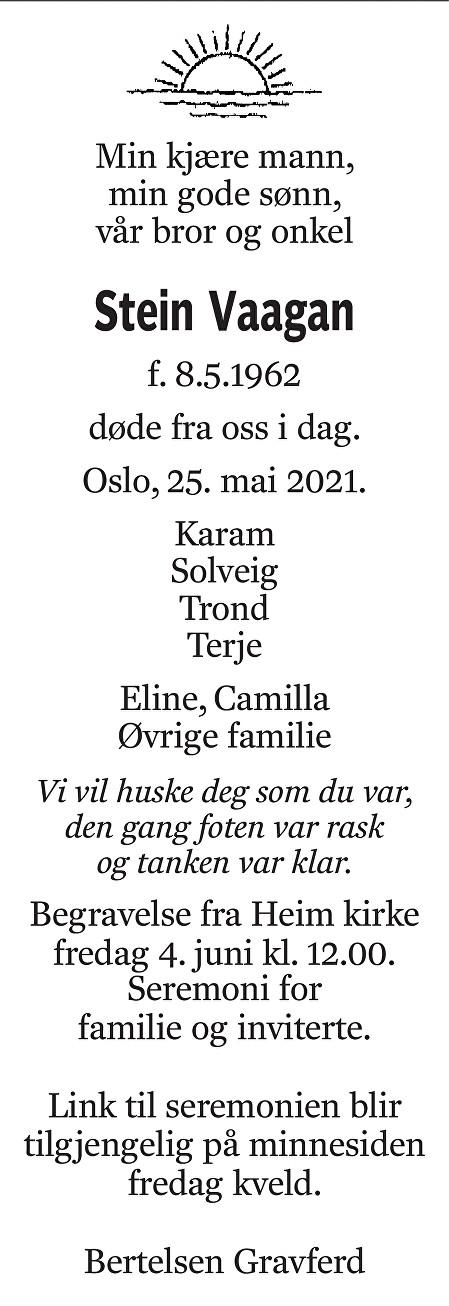Stein Vaagan Dødsannonse