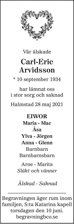 Carl-Eric Arvidsson Death notice