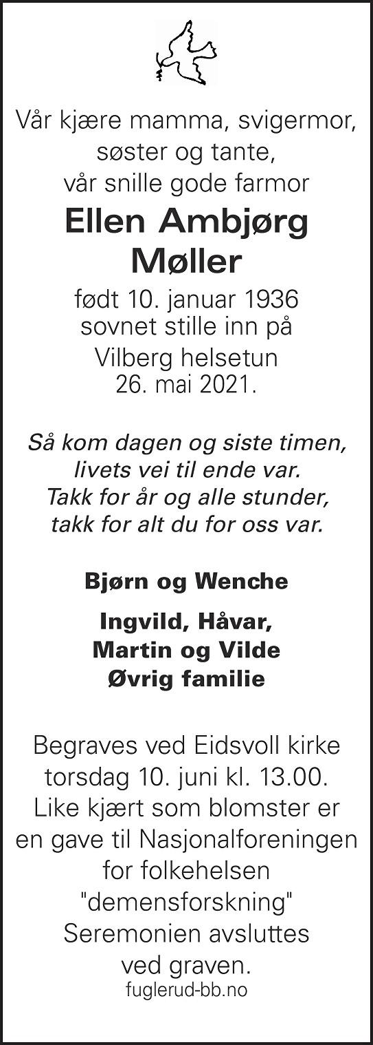 Ellen Ambjørg Møller Dødsannonse