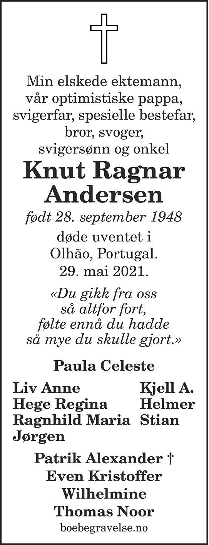 Knut Ragnar Andersen Dødsannonse
