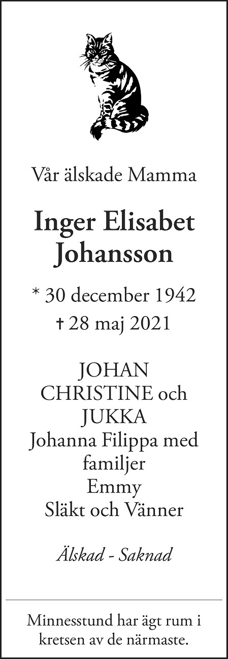 Inger Johansson-Dikmen Death notice