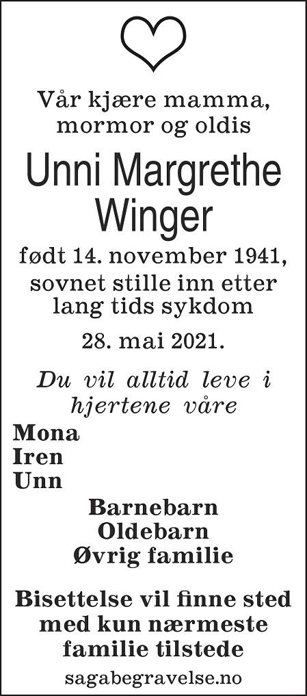 Unni Margrethe Winger Dødsannonse