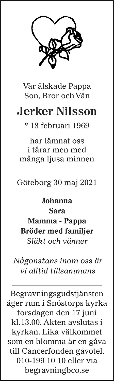 Jerker Nilsson Death notice