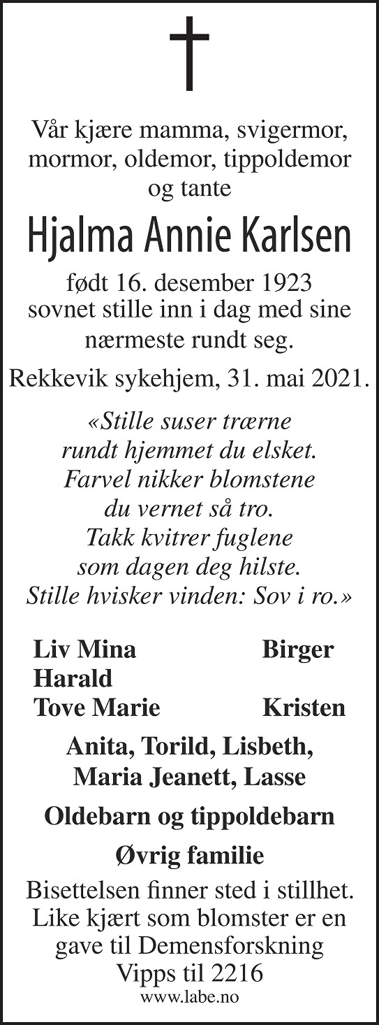 Hjalma Annie Karlsen Dødsannonse