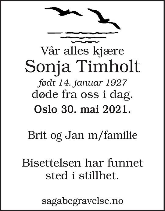 Sonja Timholt Dødsannonse