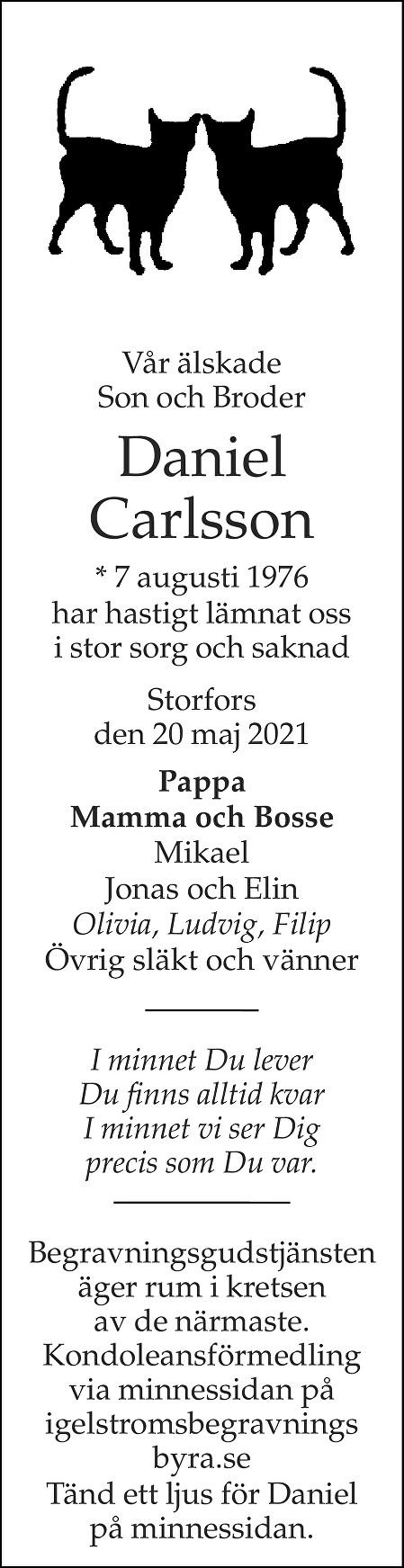 Daniel Carlsson Death notice