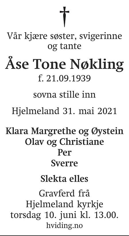 Åse Tone Nøkling Dødsannonse