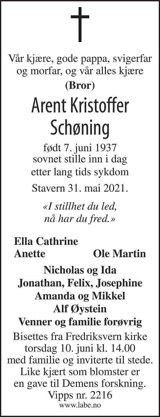 Arent Kristoffer Schøning Dødsannonse