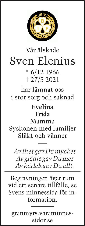 Sven Elenius Death notice