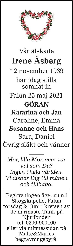 Irene Åsberg Death notice