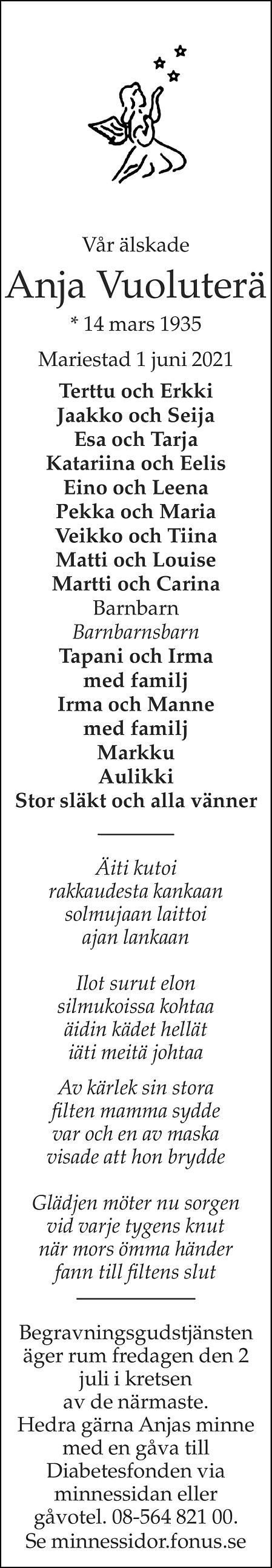 Anja Vuoluterä Death notice