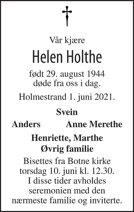Aud Helen Lysne Holthe Dødsannonse