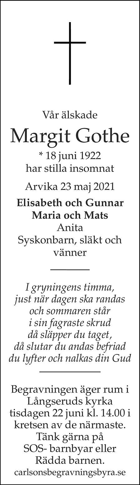 Margit Gothe Death notice