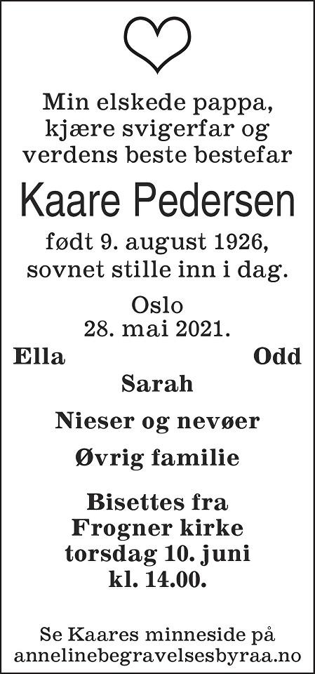 Kaare Pedersen Dødsannonse