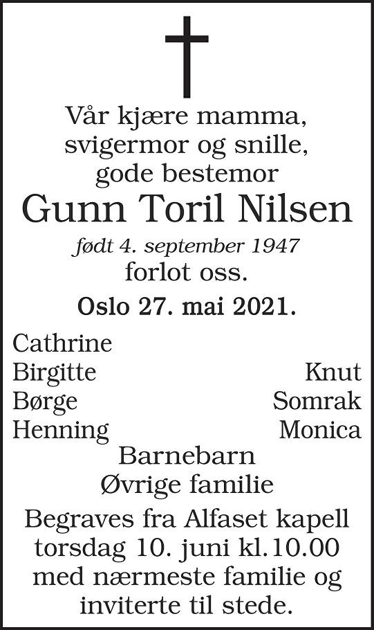Gunn Toril Nilsen Dødsannonse