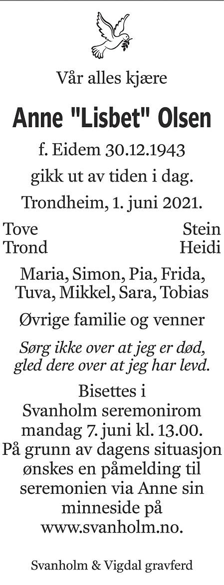 Anne Lisbet Olsen Dødsannonse