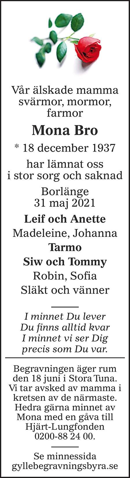 Mona Bro Death notice