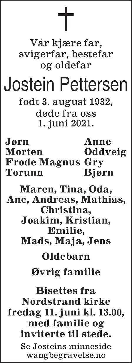 Jostein Pettersen Dødsannonse