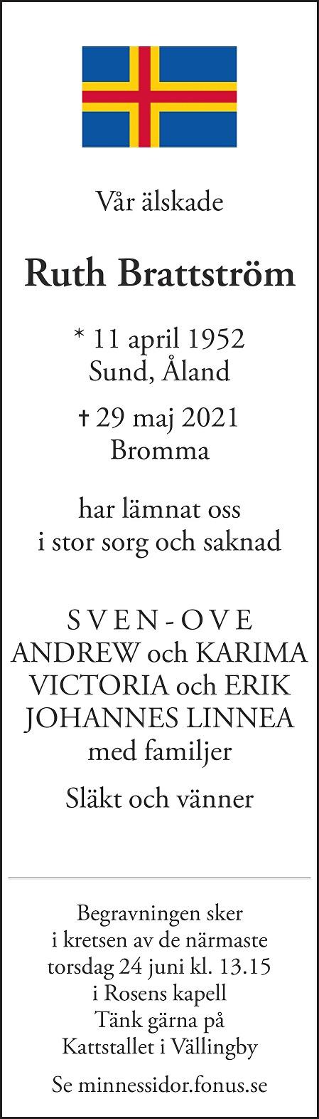 Ruth Brattström Death notice