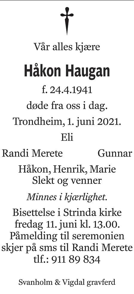 Håkon Haugan Dødsannonse