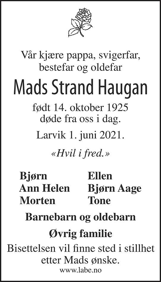 Mads S. Haugan Dødsannonse