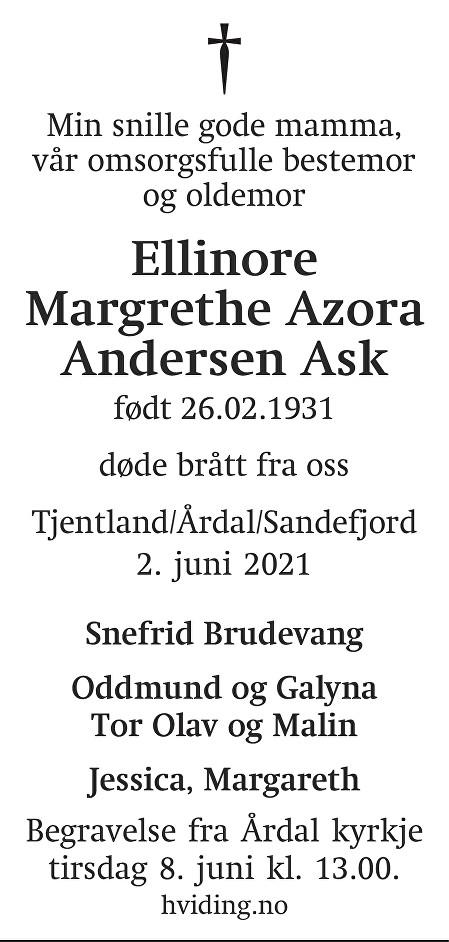 Ellinore Margrethe Azora Andersen Ask Dødsannonse
