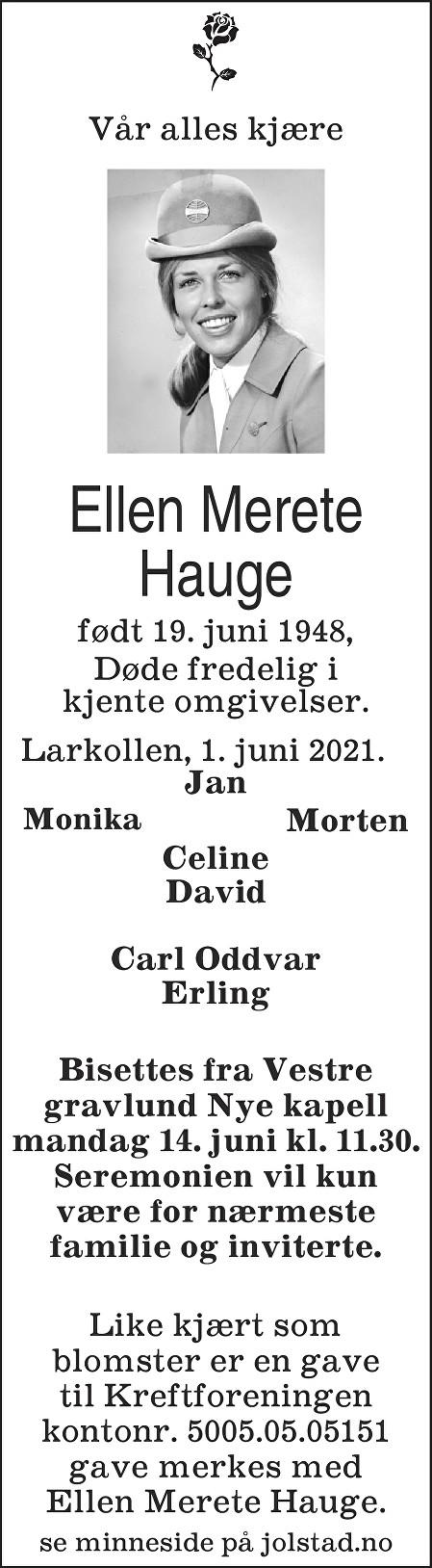 Ellen Merete Hauge Dødsannonse