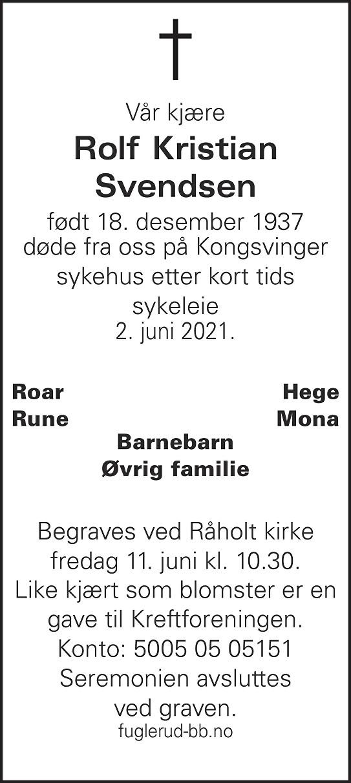 Rolf Kristian Svendsen Dødsannonse