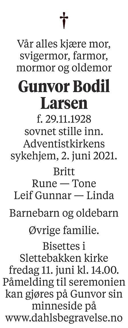 Gunvor Bodil Larsen Dødsannonse