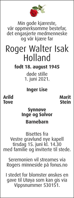 Walter Roger Isak Holland Dødsannonse