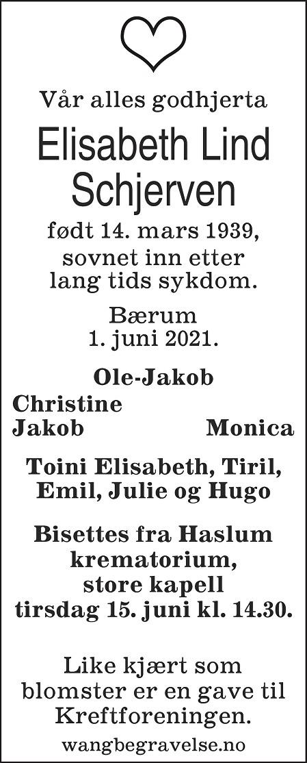 Elisabeth Lind Schjerven Dødsannonse