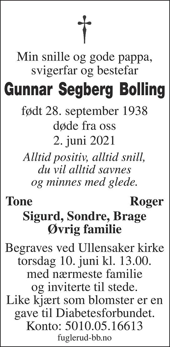 Gunnar Segberg Bolling Dødsannonse