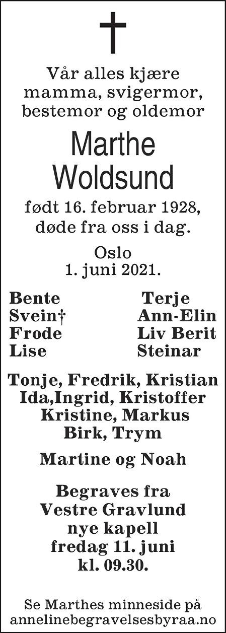 Marthe  Woldsund Dødsannonse