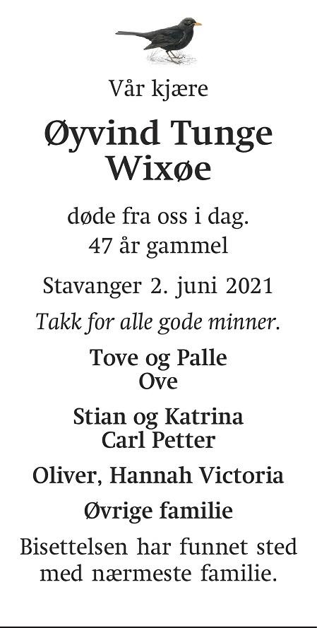 Øyvind Tunge Wixøe Dødsannonse