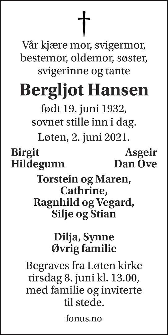 Bergljot Hansen Dødsannonse