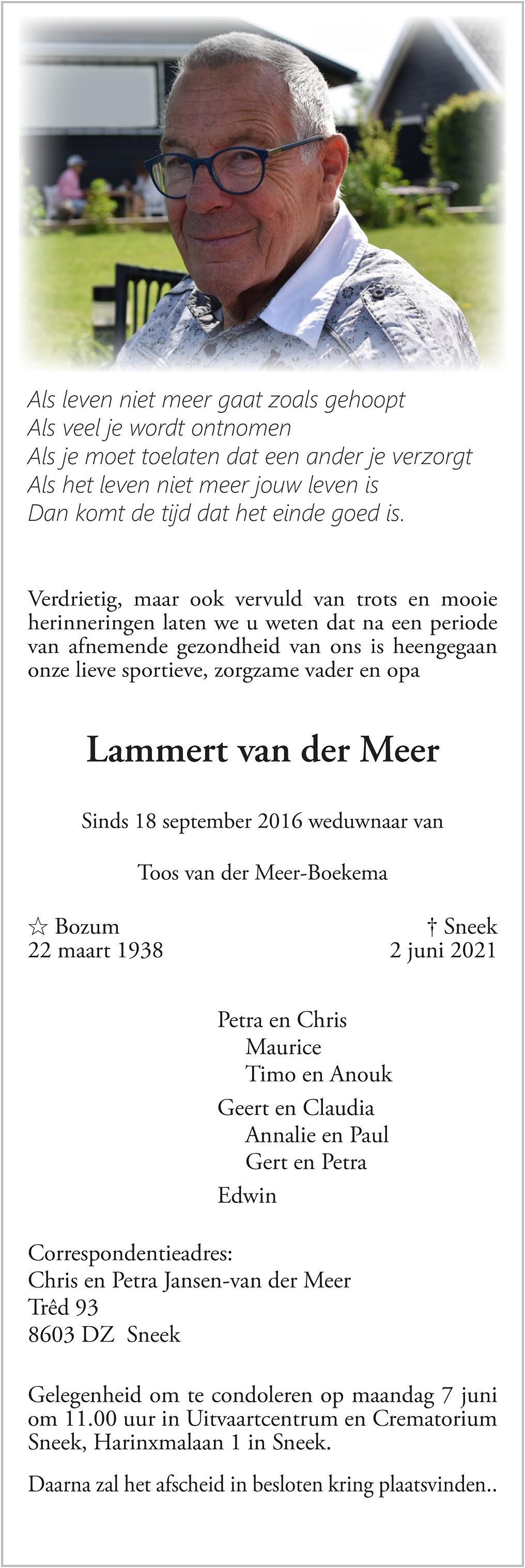 Lammert van der Meer Death notice