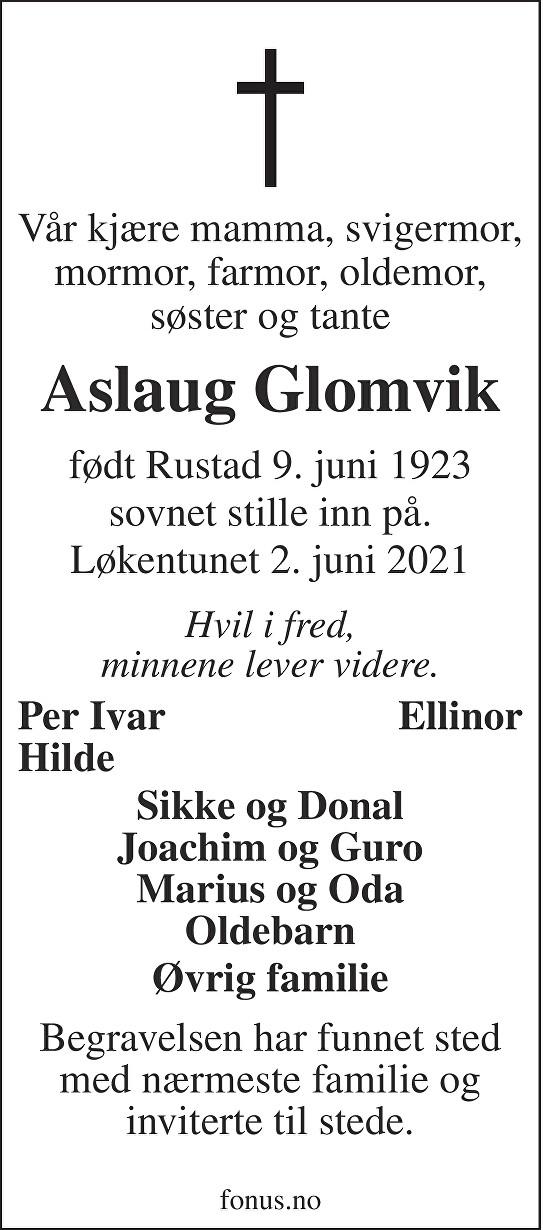 Aslaug Glomvik Dødsannonse