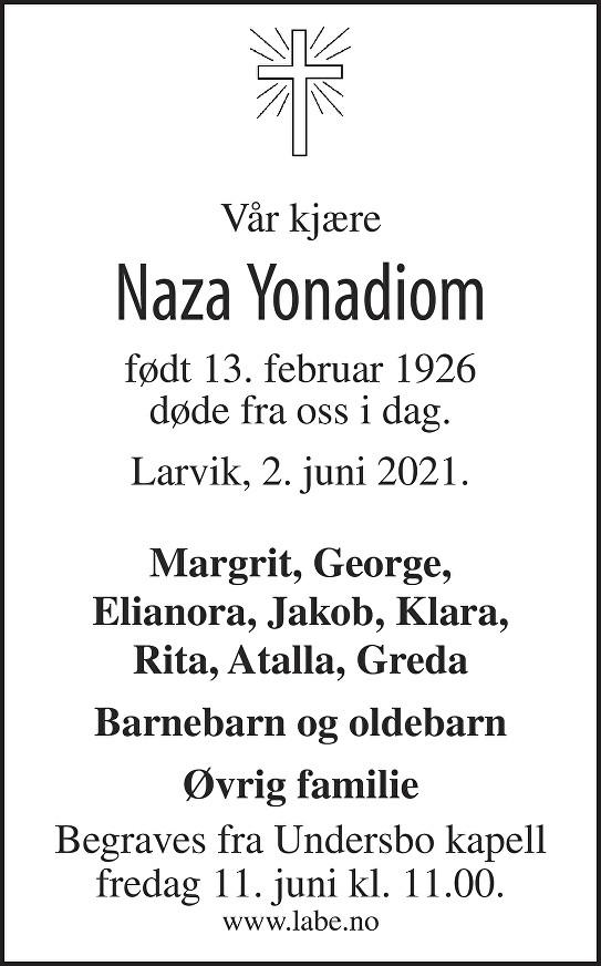 Naza Yonadiom Dødsannonse