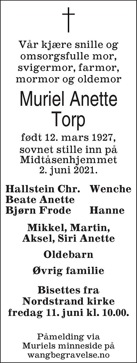 Muriel Anette Torp Dødsannonse