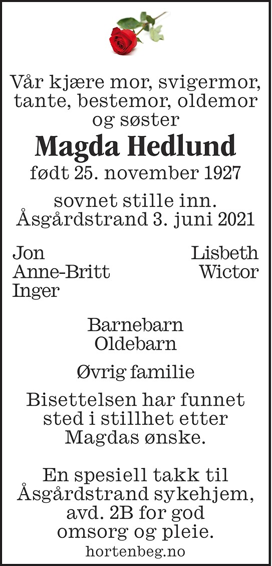 Magda Hedlund Dødsannonse