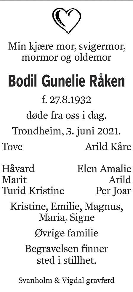 Bodil Gunelie Råken Dødsannonse
