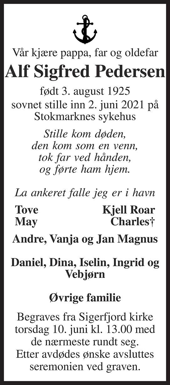 Alf Sigfred Pedersen Dødsannonse