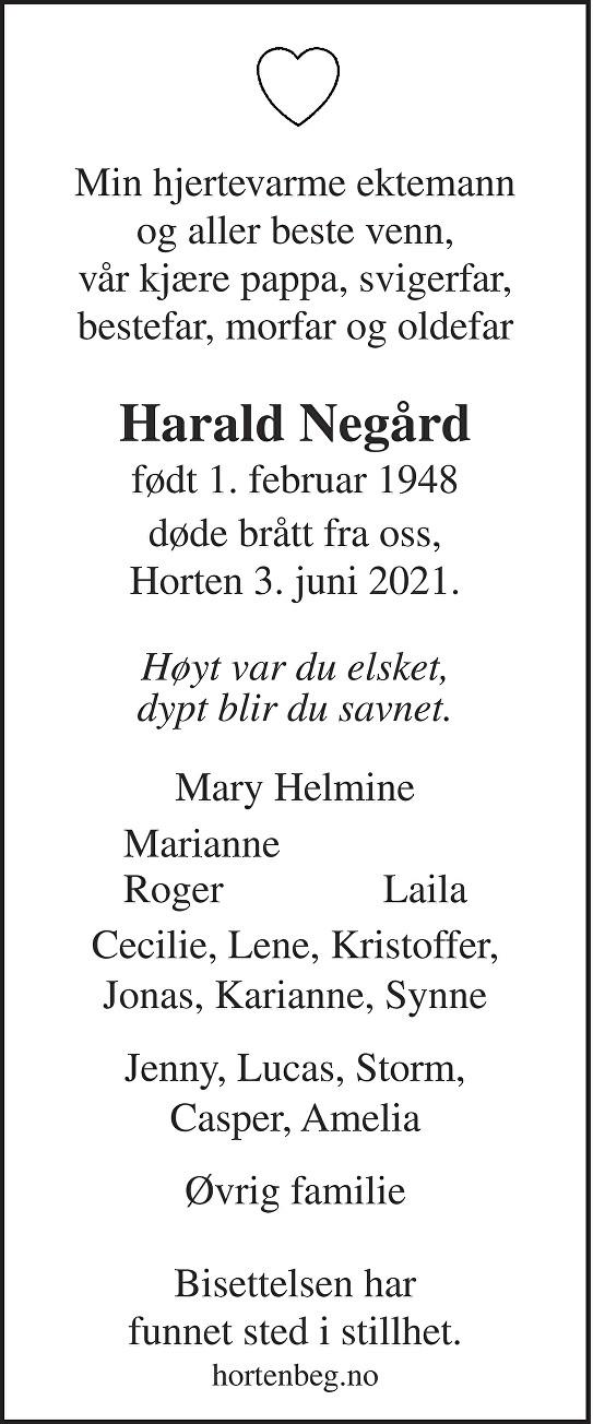 Harald Negård Dødsannonse
