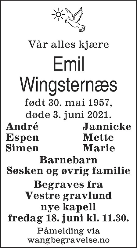 Emil Wingsternæs Dødsannonse