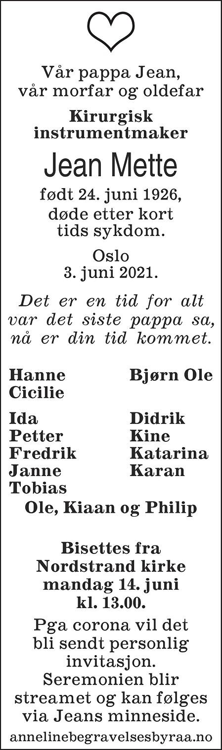 Jean Mette Dødsannonse