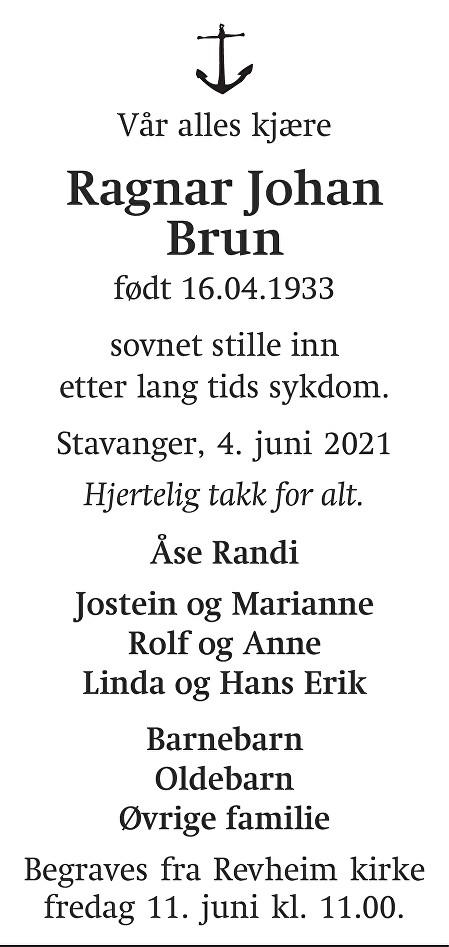 Ragnar Johan Brun Dødsannonse