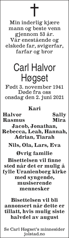 Carl Halvor Høgset Dødsannonse