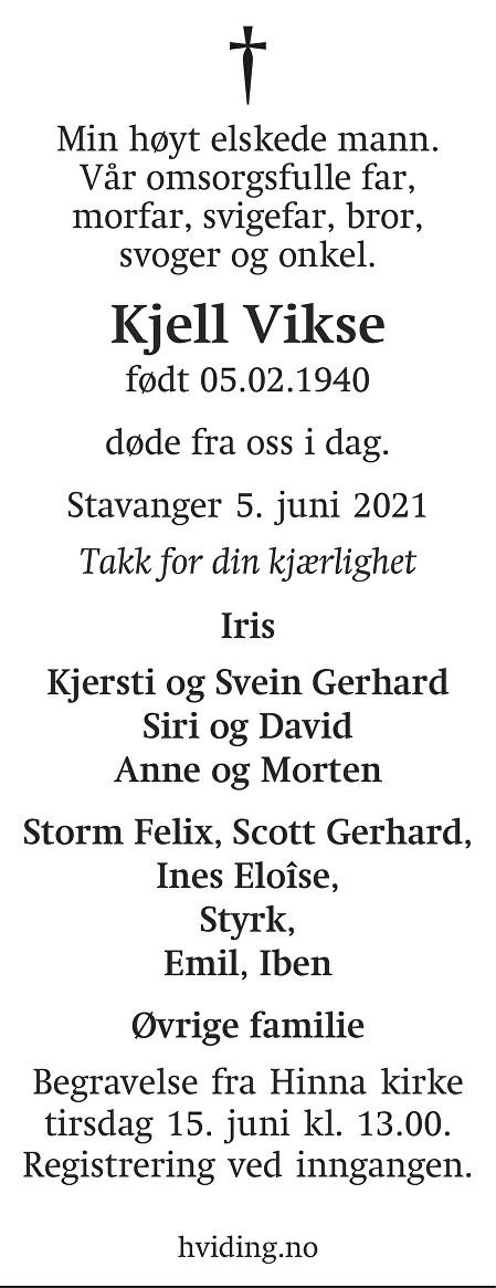 Kjell  Vikse Dødsannonse
