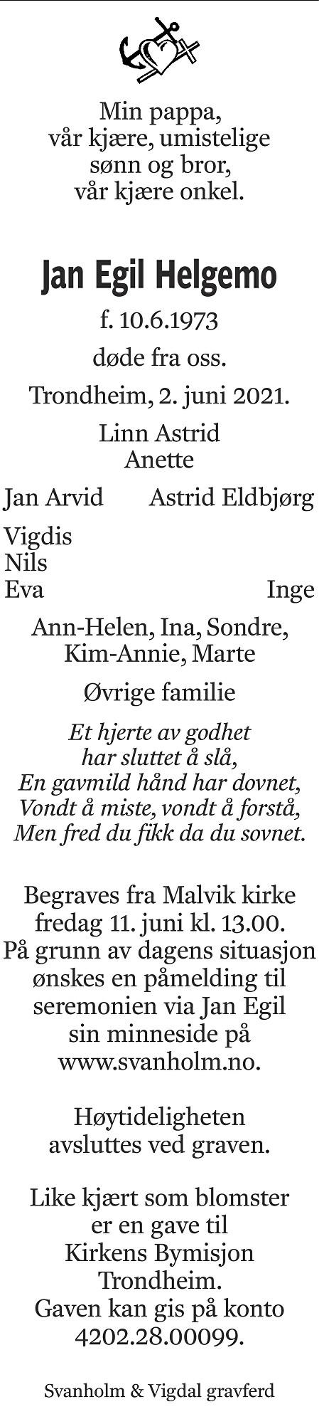 Jan Egil Helgemo Dødsannonse